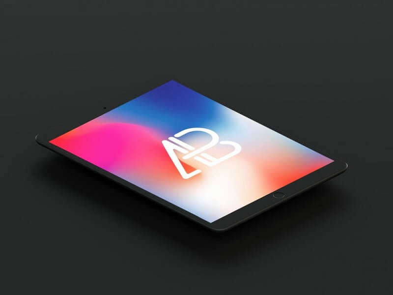 Floating matte-black iPad Pro