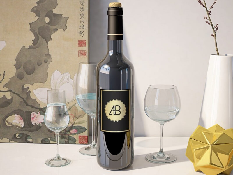 Realistic Wine Bottle