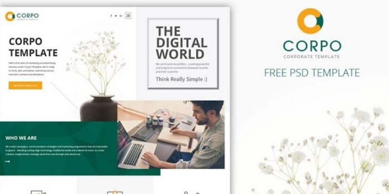 Free Corporate PSD Website Templates