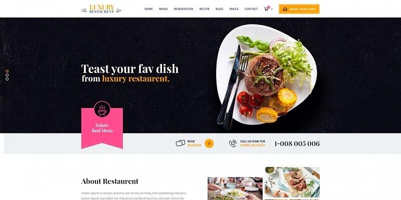 Free Restaurant PSD Website Templates