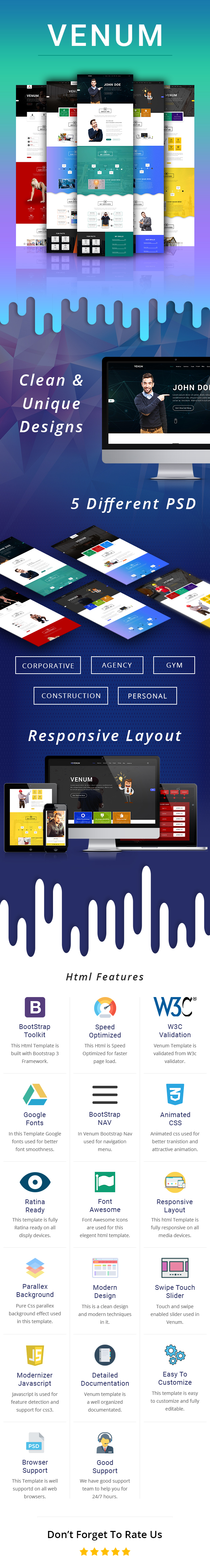 venum one page business corporate html5 template