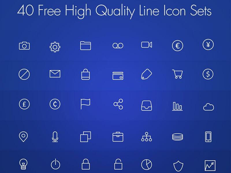 40 Free High Quality Line Icon Set