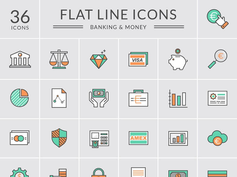 Bank and Money Icons