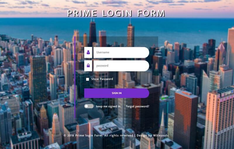 Prime Login Form