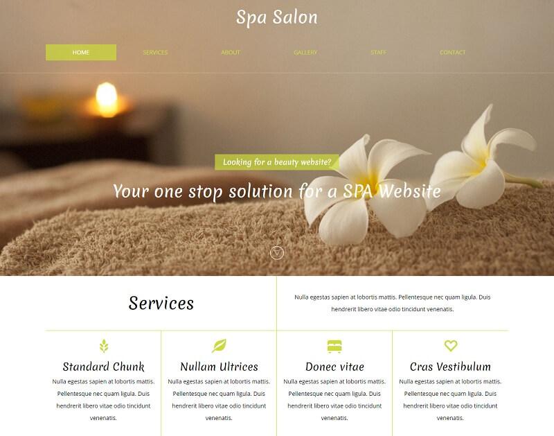 Free Spa Salon HTML Website Templates